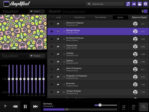 Amplifind Musik-Player und Visualisierung Screenshot