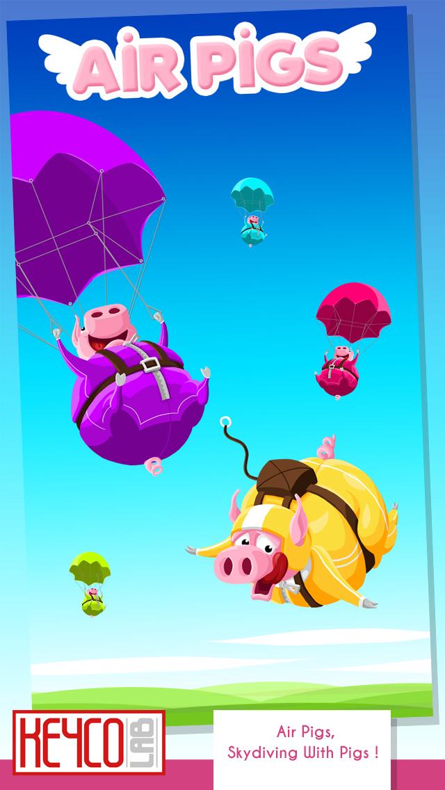 Air Pigs - Fallschirmspringen mit Schweinen ! iOS Screenshots
