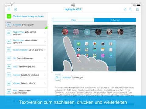 100 Video-Tipps rund um iOS 8 auf iPad & iPhone Screenshot