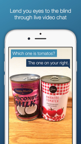 an image showing two cans - coconut milk on the left and tomatoes on the right. Blind person asks which one's the tomatoes. Sighted person's response is the right one.