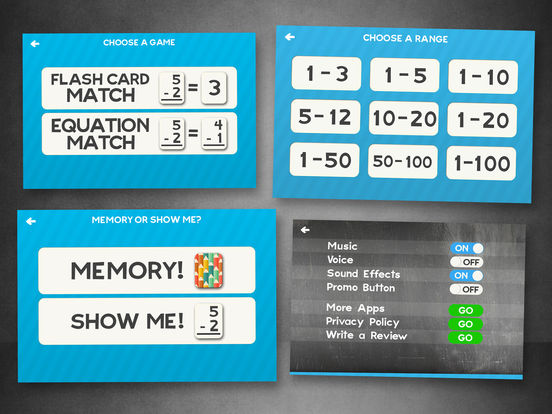 Subtraction Flash Cards Match Math Games for Kids Screenshots