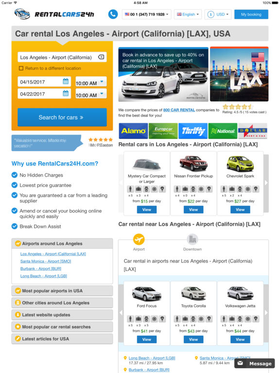 Car Rental Los Angeles Airport LAX  Easy to compare