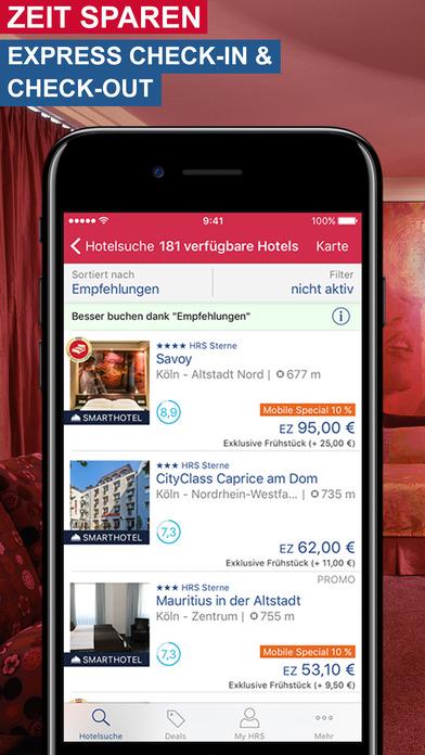 hrs hotel suche hotels lastminute deals im app store. Black Bedroom Furniture Sets. Home Design Ideas