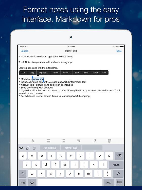 Trunk Notes Personal Wiki Screenshot