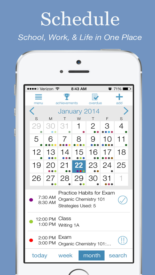Study Habits – Helping Students in High School & College Organize, Schedule, Learn & Succeed! iPhone
