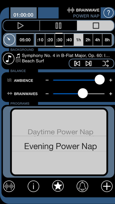 Brain Wave Power Nap - Advanced Binaural Brainwave Entrainment with Ambient Backgrounds and iTunes Music Mixing Screenshot
