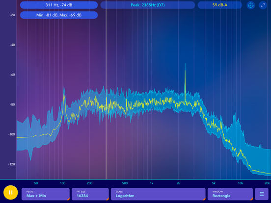 Audio spectrum analyzer and dB (decibel) meter Screenshots