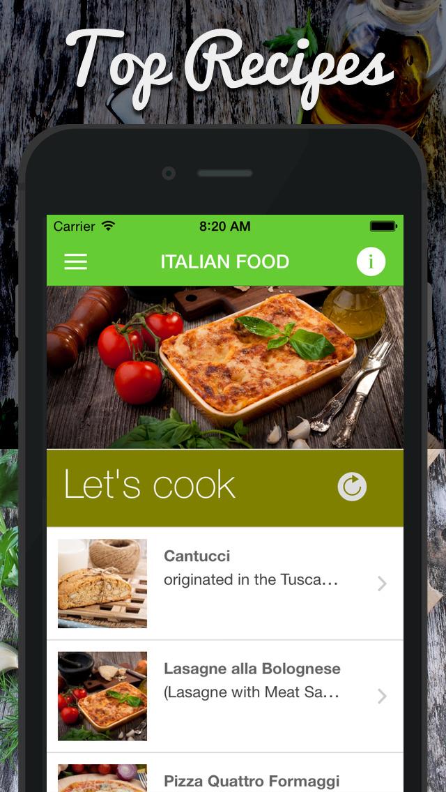 イタリア語 食品。迅速かつ簡単クッキング。ベストな料理、伝統的なレシピ&クラシックな料理。のおすすめ画像1