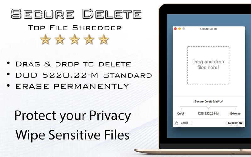 2016年8月22日Macアプリセール データ・シュレッダーアプリ「Secure Delete」が値下げ!