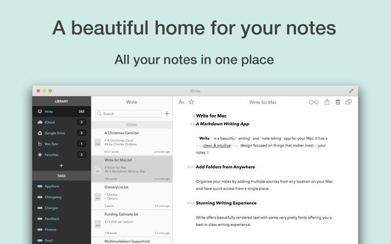 Macアプリ「Write」のスクリーンショット