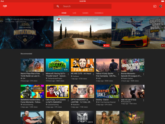 YouTube Gaming Screenshots