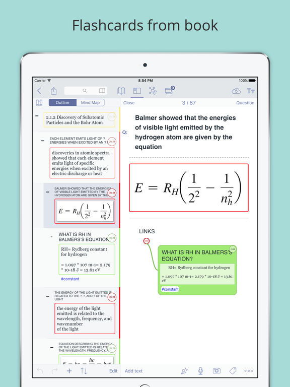 MarginNote Pro - Combines mindmap and book reader for note organization and provides flashcard for memorizing Screenshots