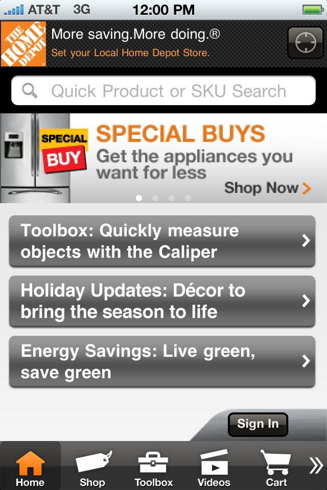 The Home Depot free app screenshot 1