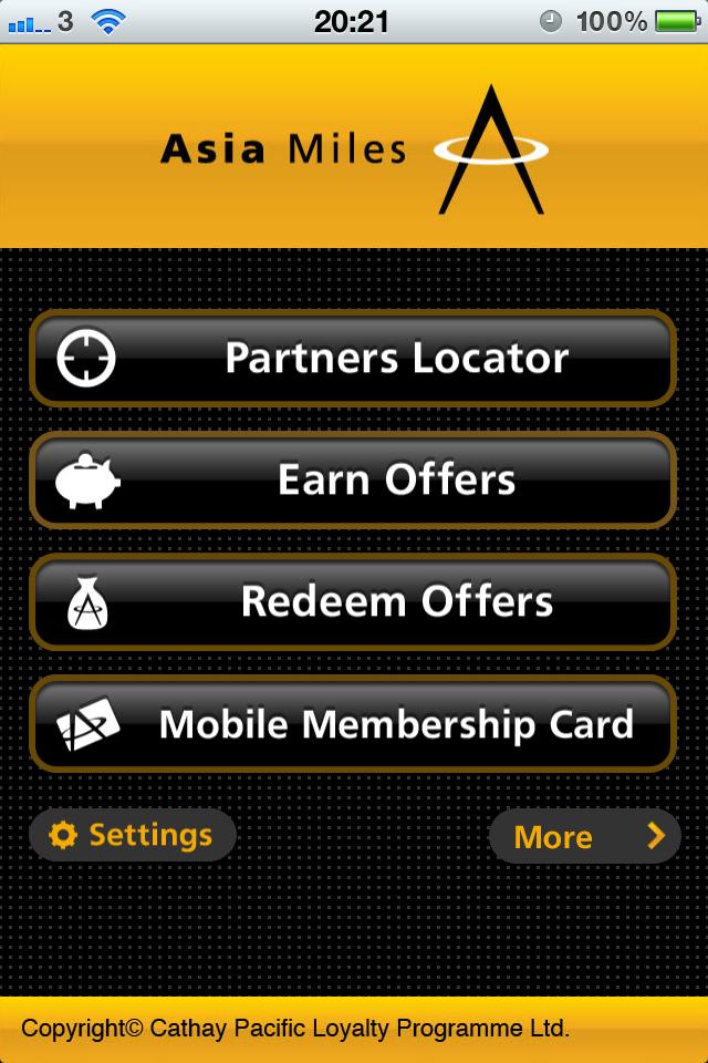 Asia Miles free app screenshot 1