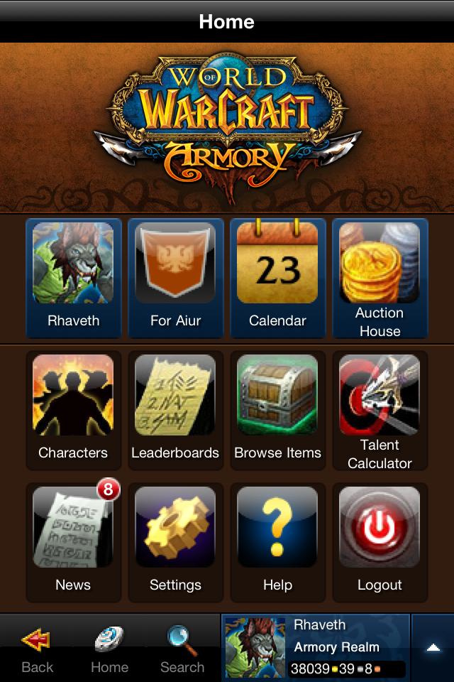World of Warcraft Mobile Armory free app screenshot 1