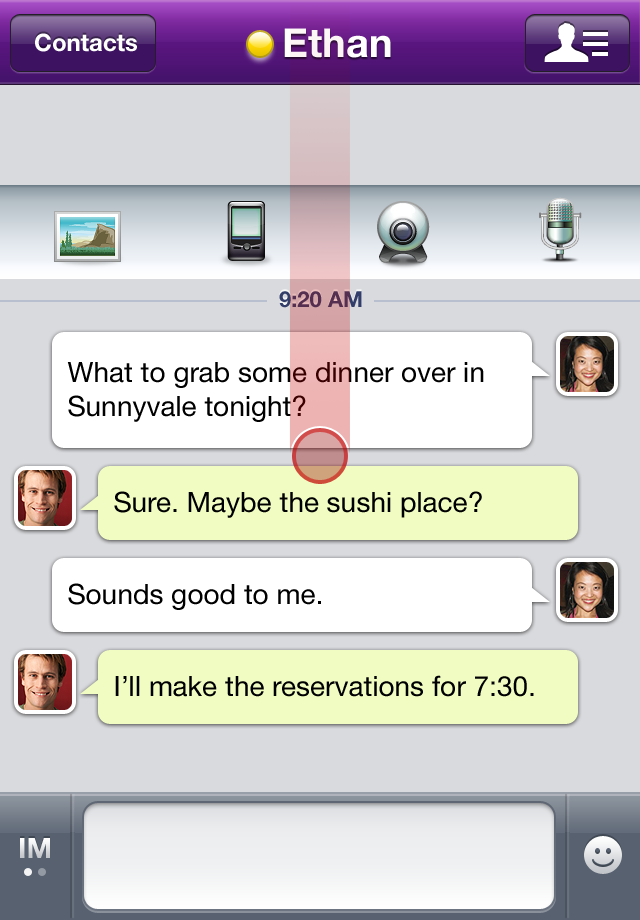 Yahoo! Messenger free app screenshot 1
