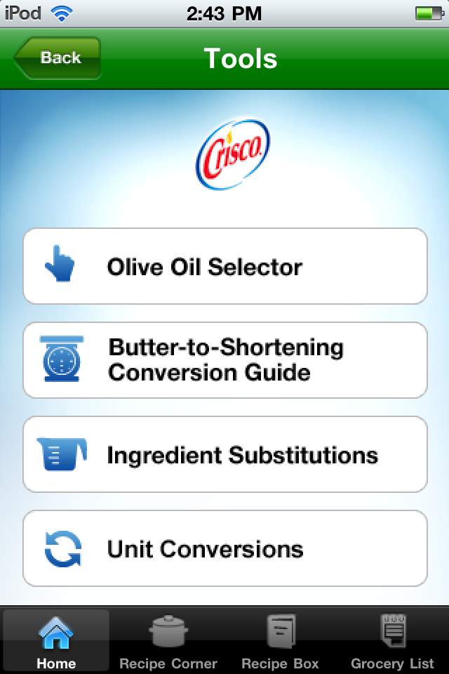 Crisco Mobile Screenshot