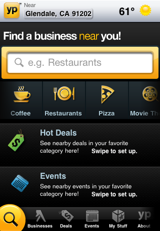 YP - Yellow Pages for iPhone free app screenshot 1