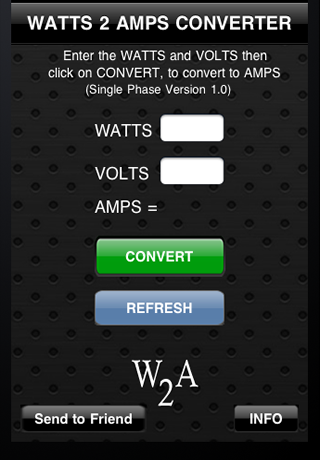 Watts2Amps Screenshot