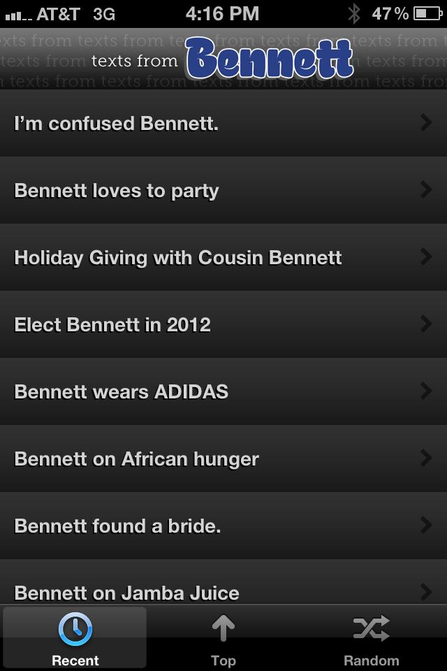 App Shopper Texts From Bennett Official Entertainment