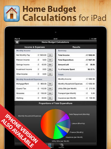 Home Budget Calculations for iPad