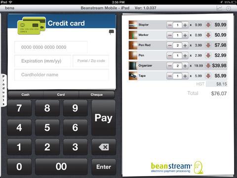 Beanstream Mobile for iPad