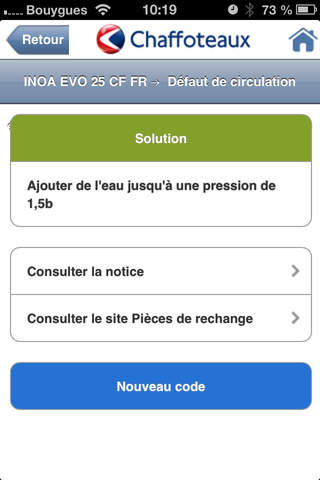 Screenshot of Chaffoteaux SAV