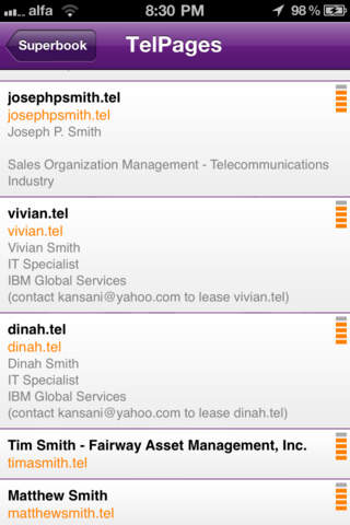 Superbook : The .tel Contacts Manager iPhone Screenshot 4