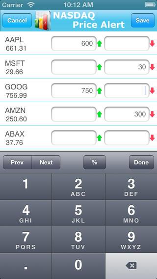 Nasdaq Price Alert iPhone Screenshot 2