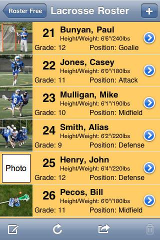 Roster Free iPhone Screenshot 1