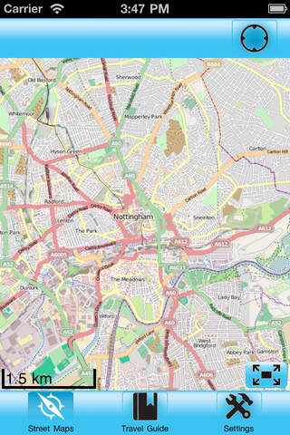 Nottingham Street Map Offline iPhone Screenshot 1