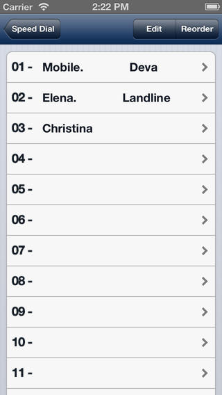 Speed Dial iPhone Screenshot 2