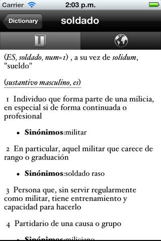 Spanish Dictionary Lite iPhone Screenshot 2