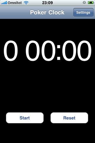Poker Bet Time Clock iPhone Screenshot 1