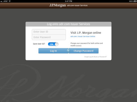 J.P. Morgan adr.com for iPad