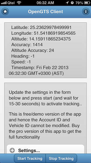 OpenGTS Tracking Client