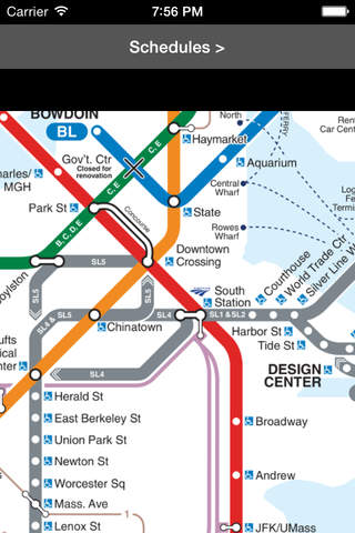 MBTA Boston T Map -- Ad Free screen