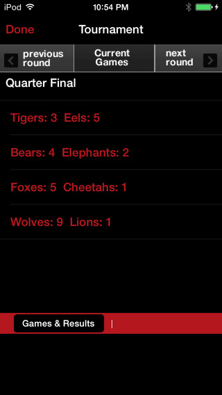 Tournament App iPhone Screenshot 3
