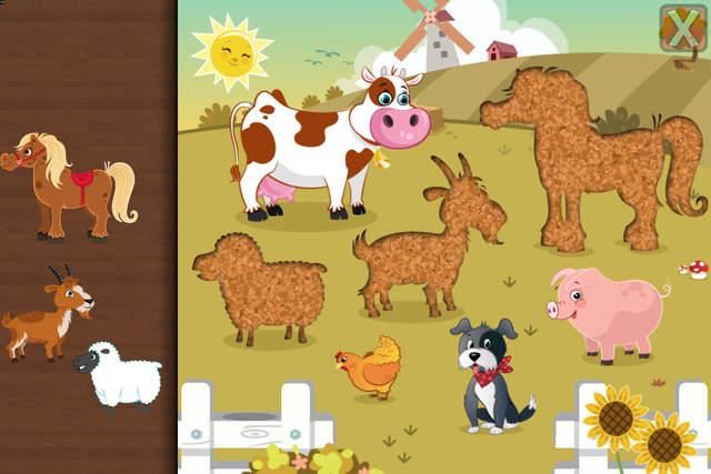 其中包括26个可爱的卡通动物,例如30个形状拼图和七巧板拼图的牛,马