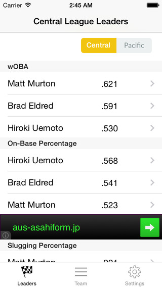 NPB Stats And Info - best baseball statistics app for Pro Yakyu fans