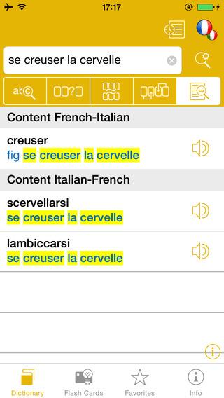 French <-> Italian Talking Dictionary Global Mondadori Langenscheidt iPhone Screenshot 3