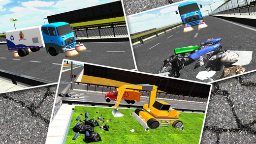 City Garbage Truck Simulator 3D – Drive trash vehicle digger crane to sweep the roads