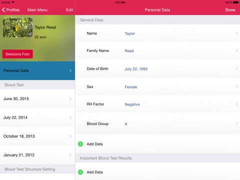 My Blood Test for iPad iPad Screenshot 3