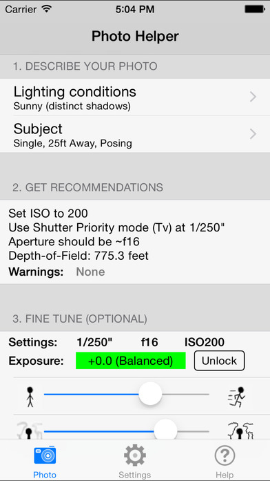 PhotoHelper - Camera Settings For Better Pictures iPhone Screenshot 1