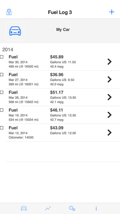 Fuel Log 3 iPhone Screenshot 2
