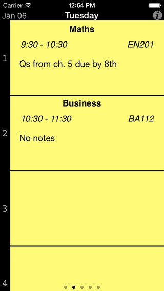 Student Timetable iPhone Screenshot 1