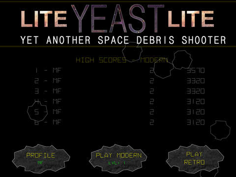 Yeast - Yet another Space Debris Shooter - Lite
