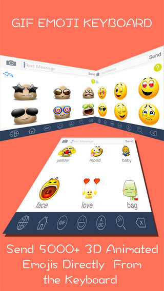 GIF Emoji Keyboard PRO - New 5000 + Animated 3D Emoticons Keyboard for iOS 8 iOS 7