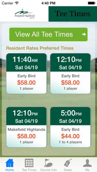Makefield Highland Golf Tee Times