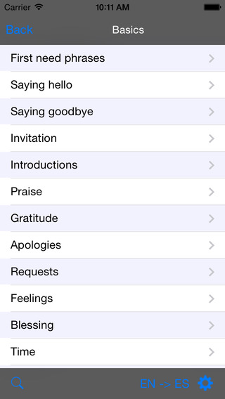 Spanish-Arabic Talking Travel Phrasebook iPhone Screenshot 2